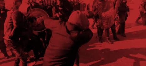 Polizeieinsatz gegen Streikende vor AlcarUno Levoni