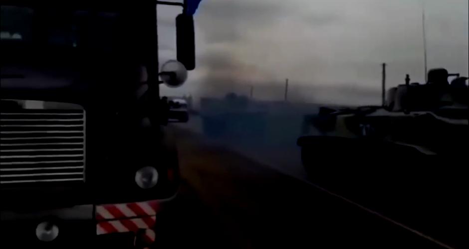 Panzer beim Streik der russischen LKW Fahrer